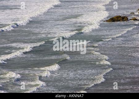 Lone nageur dans le surf à Druidstone plage près de Grand Haven Galles Pembrokeshire Coast United Kingdom Banque D'Images