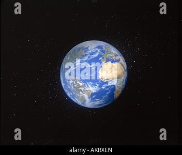 Peinture de la planète Terre vue de l'espace. Banque D'Images
