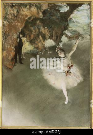 """'Fine Arts, Degas, Edgar (1834 - 1917), 'La star', 1877/1878, pastel, Musée d'Orsay, Paris, """"La danseuse du théâtre"""", en français"""