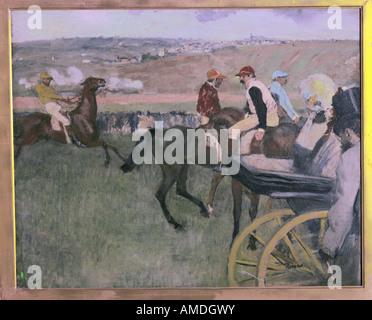 """'Fine Arts, Degas, Edgar, (1834 - 1917), peinture, """"aux courses"""", 1876 - 1987, huile sur toile, Musée d'Orsay, Paris, 'Aux Co"""