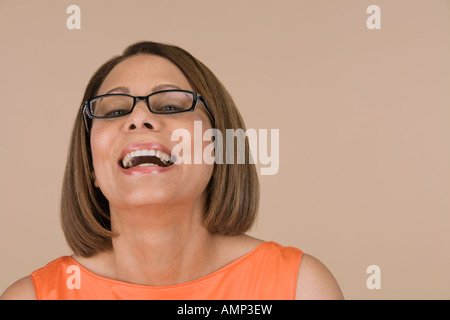 Woman wearing eyeglasses Banque D'Images
