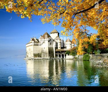 CH - VAUD: Château de Chillon sur le Lac Léman Banque D'Images