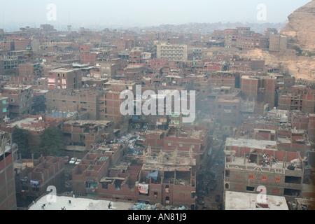 Bidonville à ordures rue quart, l'Égypte, Cairo