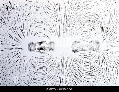 Champ magnétique autour de deux pôles identiques avec les aimants face illustré par de la limaille de fer Banque D'Images