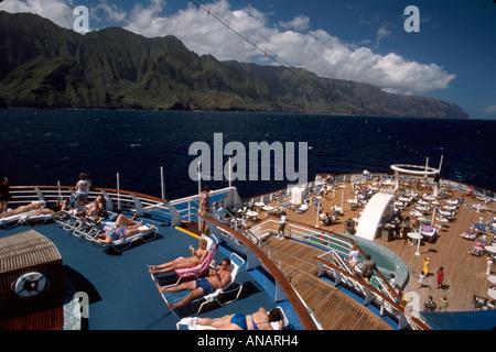 Hawaï, îles hawaïennes, Kauai, côte Na Pali, indépendance SS, bateau de croisière, passagers passagers rider riders, bains de soleil, visites touristiques de plein air