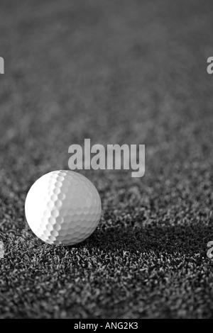 Solitaire en noir et blanc sur une balle de golf putting green Banque D'Images