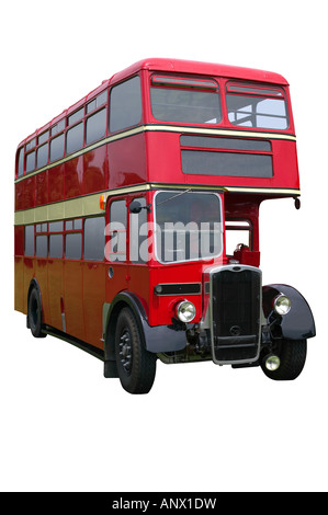 Bus à impériale rouge Vintage isolated on white with clipping path Banque D'Images