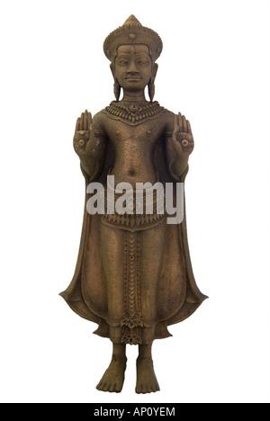 Buddha Cambodge Cambodge 12e siècle de style droit permanent vêtus de robes simple ceinture collier la couronne ornée de whee stylisé