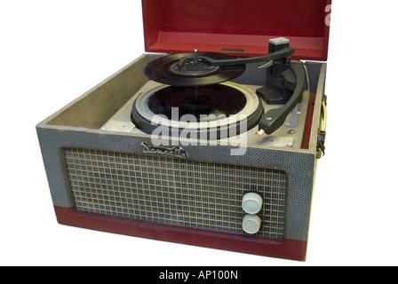 Monarque dansette record player rouge gris bleu Open music pop musical 33 45 78 tr/min jouer jouer Sound 1960 Rock Banque D'Images