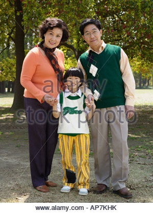 Portrait de grands-parents avec petit-fils Banque D'Images