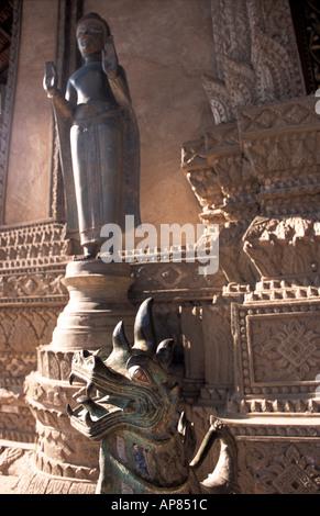 Wat Phra Kaeo construit en 1565 pour abriter le Bouddha d'Émeraude reconstruit 1940 s 50 s Vientiane Laos singha Banque D'Images