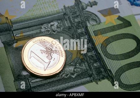 1-pièce en euros portant sur l'Euro Banque D'Images