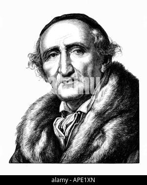 Johann Gottfried Schadow,, 20.5.1764 - 27.1.1850, sculpteur allemand, portrait, gravure sur acier, 19e siècle, l'artiste Banque D'Images