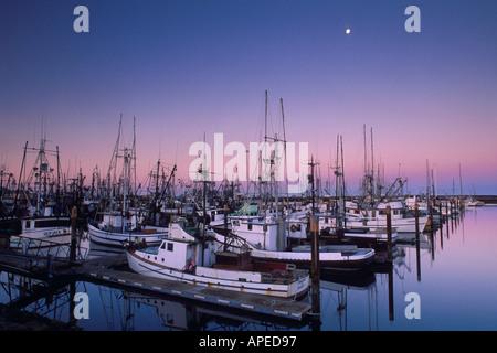 Réglage de pleine lune à l'aube en rose et violet ciel au-dessus de bateaux de pêche commerciale à quai dans le Banque D'Images