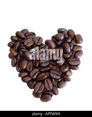 Café en grains en forme de coeur Banque D'Images