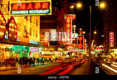 Chine Hong Kong Nathan Road Kowloon Neon Light Banque D'Images