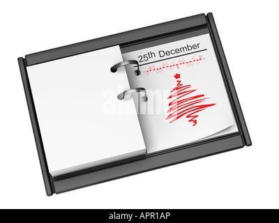 Agenda de bureau le 25 décembre Jour de Noël Banque D'Images