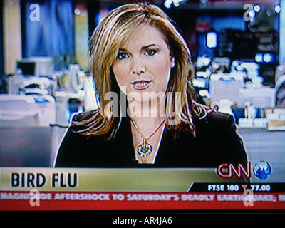 Capture d'écran de télévision un foyer de grippe aviaire de rapports sur CNN news bulletin
