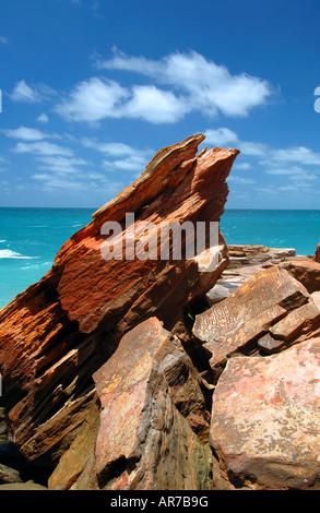 Les ondulations du sable fossilisé dans les roches à Gantheaume Point, Broome, Australie occidentale, région de Banque D'Images