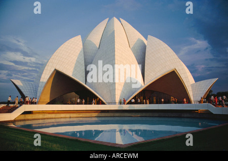 La fleur de lotus de Bahai Temple, construit en 1980, le centre de la foi Baha'i, Delhi, Inde Banque D'Images