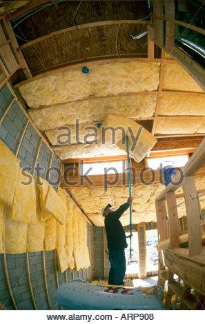 R30 R15 et R38 isolement installé dans de nouveaux style loft maison en construction Tucson Arizona Banque D'Images