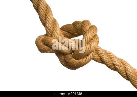 Gros noeud dans la corde de chanvre de manille lourde Banque D'Images