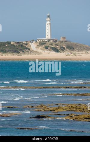 Los Caños de Meca et Cap sur le phare de Trafalgar, Province de Cadix, Espagne.