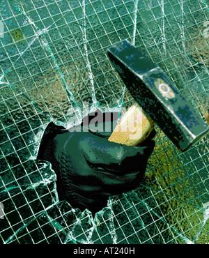 Introduction par effraction dans une propriété privée, en brisant l'intermédiaire du fil de verre appliqué à l'aide Banque D'Images