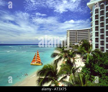 USA - HAWAÏ: plage de Waikiki d'Oahu