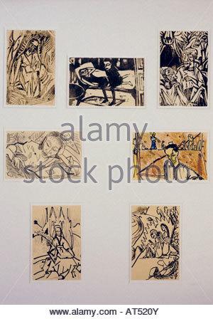 Beaux-arts, Erich Heckel, (1883 - 1970), graphique, cartes postales, Musée Franz Marc, Kochel au bord du lac, l'Allemagne, Banque D'Images