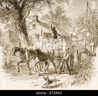 Dans Homestead Kansas en 1870. Photos de American dessiné avec stylo et crayon par Rev Samuel Manning vers 1880 Banque D'Images
