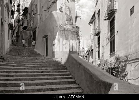 Napoli Naples Centre Historique rue monochrome centre bw Italie Banque D'Images