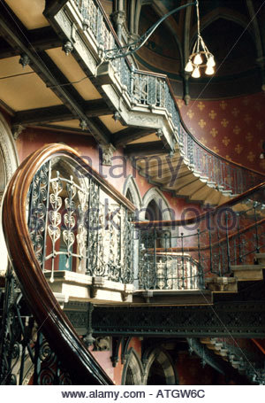 Le Grand Hôtel de Midland, St Pancras, Londres. 1868 1875. Le grand escalier. Architecte: Sir George Gilbert Scott Banque D'Images