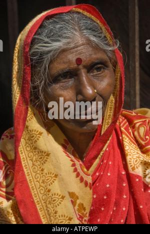 Portrait d'une vieille femme indienne portant un sari rouge. Banque D'Images