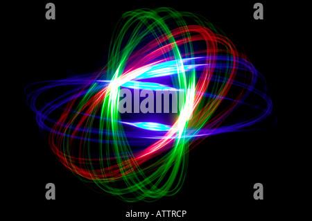 Résumé motif physiogram avec trois lumières colorées Banque D'Images