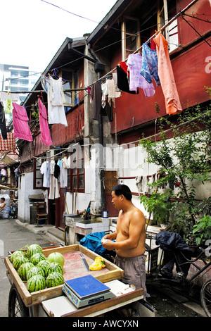 Partie ancienne de la ville, scène de rue, la vente de melons, marchand de Shanghai, Chine, Asie