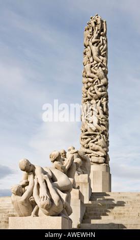 Colonne monolithique in Vigeland Sculpture Park à Frogner Park, Oslo, Norway, Scandinavia, Europe