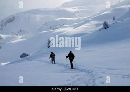 Ski de randonnée Moutaineers sur les Alpes de Zillertal, Tyrol, Autriche Banque D'Images