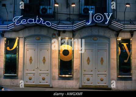 Espagne, Madrid, Calle Arenal 11, Joy Eslava, enseigne au néon au-dessus de l'entrée la plus connue de Madrid situé Banque D'Images