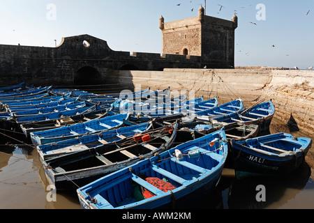 Bateaux de pêche bleu en face de la Scala du Port Forteresse, Essaouira, Maroc, Afrique Banque D'Images