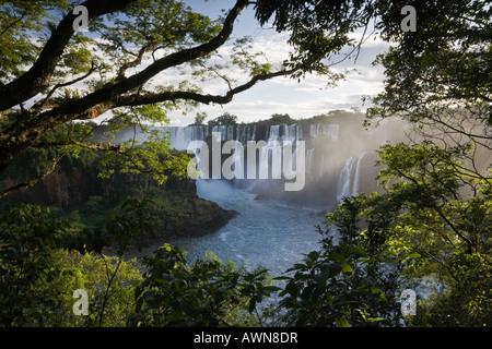 Streaming doux la lumière sur les superbes chutes de l'Argentine, le Brésil et le Paraguay Banque D'Images