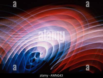 Effet de lumière, géométrique, rouges, bleus et blancs. Banque D'Images