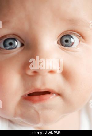 Visage du bébé avec la bave sur le menton, looking at camera, close-up