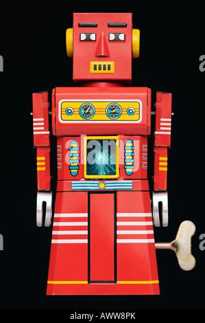 Robot d'étain un traditionnel Grand Robot étincelles Jouet mécanique des années 60 Banque D'Images