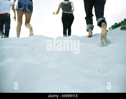 Quatre personnes s'exécutant sur du sable, de faible section, vue arrière Banque D'Images