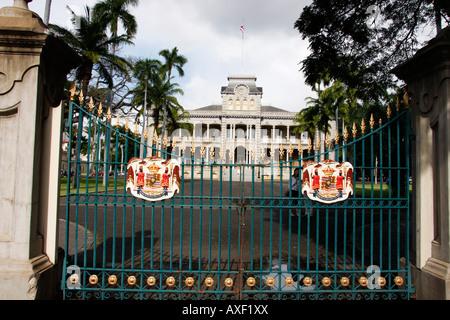 Le spectaculaire Palais Iolani à Honolulu sur l'Île Oahu Hawaii,a été construit en 1882 et est le seul palais Royal Banque D'Images