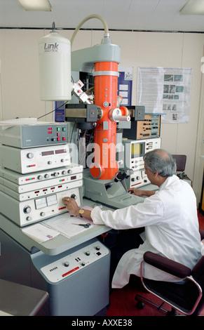 Au microscope de laboratoire Banque D'Images