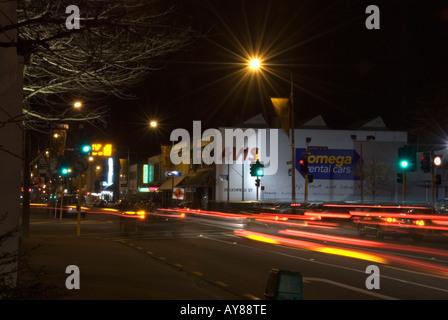 Les rues de la ville la nuit Christchurch Nouvelle Zélande Banque D'Images