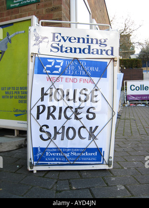 Les prix de gros titre CHOC 8 AVRIL 2008 journal Evening Standard de Londres du marché du logement au Royaume-Uni