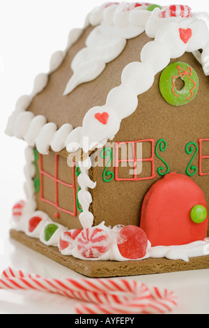 Close up of gingerbread house Banque D'Images